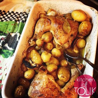 Пилешко с пресни картофи и маслини