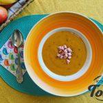 Крем супа от моркови с крутони от свинско филе